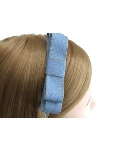 Mimos by Tia Girls Blue Denim Bow Accented Vintage Stylish Headband