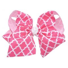 Reflectionz Girls Fuchsia White Ribbon Knot Grosgrain Large Clippie Accessory