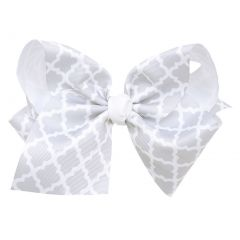 Reflectionz Girls Gray White Ribbon Knot Grosgrain Large Clippie Accessory