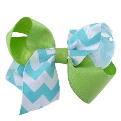 Reflectionz Girl Aqua White Chevron Lime Sparkle Medium Hair Clippie