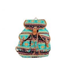 Hearty Trendy Girls Teal Tan Motif Print Flap Pockets Cotton Canvas Backpack