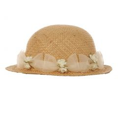 "Baby Girls Tan Ivory Flower Ribbon Attached 18"" Circumference Straw Hat"