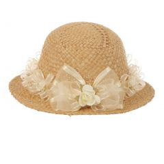 "Girls Tan Ivory Flower Embellished 19"" Circumference 1.5"" Brim Straw Hat"