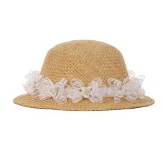 "Girls Tan White Flower Embellished 19"" Circumference 1.5"" Brim Straw Hat"