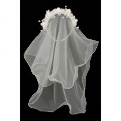 Girls Ivory Flower Pearl Crown Mesh Short Communion Flower Girl Veil