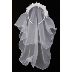 Girls White Flower Pearl Crown Mesh Short Communion Flower Girl Veil