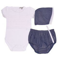 Harry & Violet Baby Girls White Blue Bodysuit Bottoms Bonnet 3 Pc Outfit 3-24M