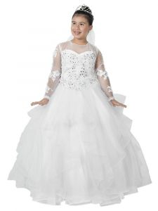 Big Girls White Embroidered Top Sleeves Ruffled Tulle Skirt Communion Dress 18
