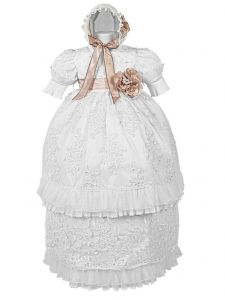 Alegria Kids Baby Girls White Pintuck Lace Pearl Bead 3 Pc Baptism Outfit 9-12M