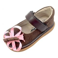 Mooshu Trainers Baby Girls Chocolate Suede Squeaky Mary Jane Shoes 3-4 Baby
