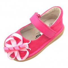 Mooshu Trainers Baby Girls Pink Suede Squeaky Harllow Mary Jane Shoes 3-4 Baby