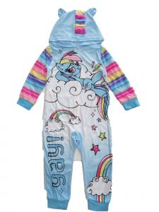 Hasbro Little Girls Blue White My Little Pony 1pc Zip Up Hooded Pajamas 4-6