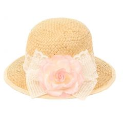 Kids Dream Girls Straw Pink Detachable Flower Lace Adorned Summer Hat 18.5""