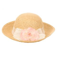Kids Dream Girls Straw Pink Detachable Flower Lace Trendy Summer Hat 20""