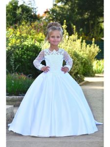 Triumph Dress Girls White Pearl Adorned Helena Flower Girl Dress 5-10