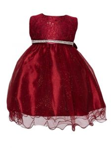 Huncho Baby Girls Burgundy Sequin Lace Glitter Flower Girl Dress 6-12M