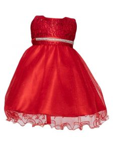 Huncho Baby Girls Red Sequin Lace Glitter Flower Girl Dress 6-12M