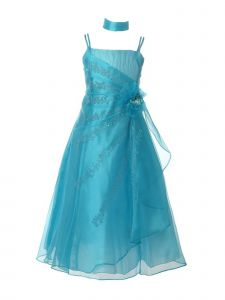 Huncho Big Girls Turquoise Organza Embroidery Flower Special Occasion Dress 10