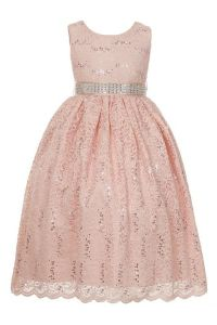 Huncho Little Girls Blush Pink Sequined Floral Lace Christmas Dress 2T-6