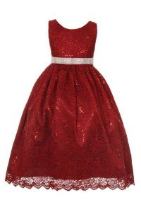 Huncho Big Girls Burgundy Sequined Floral Lace Christmas Dress 8-14