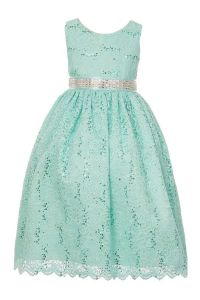 Huncho Little Girls Mint Green Sequined Floral Lace Christmas Dress 2T-6