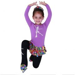 Ice Fire Skate Wear Purple Peace Star Rainbow Skating Dress Girl 5-12