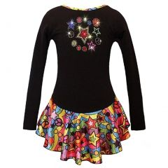 Ice Fire Skate Wear Black Peace Stars Rainbow Sparkle Dress Girl 5-12