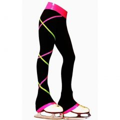 Ice Fire Skate Black Criss Cross Pink Lime Skating Pants Girls 6-14