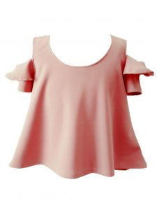 Little Girls Blush Cold Shoulder Ruffle Loose Fit Summer Blouse 2-6