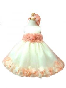 Little Girls White Peach Floral Waist Tulle Petal Tiara Flower Girl Dress 2-6