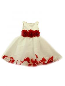 Little Girls White Red 3D Floral Waist Tulle Petal Flower Girl Dress 2-6