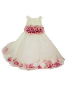 Baby Girls White Burgundy 3D Floral Waist Tulle Petal Flower Girl Dress 12-24M