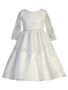 Lito Big Girls White Long Sleeve Lace Sequin Tulle Communion Dress 6-12