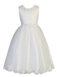 Lito Big Girls White Embroidered Sleeveless Plus Size Communion Dress 6-20.5