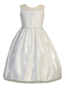 Lito Big Girls White Embroidered Tulle Sequin Communion Dress 6-16.5