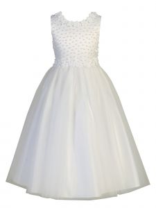 Lito Big Girls White Satin Pearl Tulle Sleeveless Communion Dress 6-14