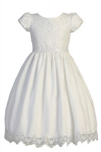 Big Girls White Short Sleeve Embroidered Lace Plus Size Communion Dress 6-16.5