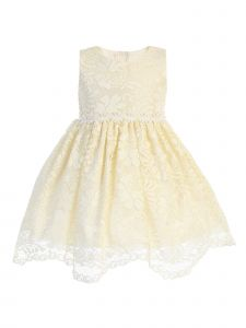 Lito Little Girls Yellow Lace Floral Trim Scalloped Hem Easter Dress 2T-7
