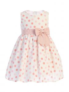 Lito Baby Girls Peach Polka Dots Bow Sleeveless Rayon Easter Dress 3-24 Months