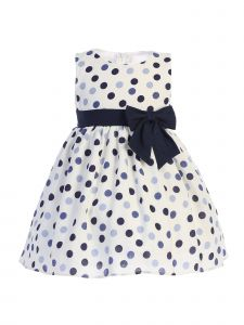 Lito Baby Girls Navy Polka Dots Bow Sleeveless Rayon Easter Dress 3-24 Months