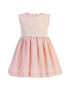 Lito Baby Girls Peach Lace Bodice Sleeveless Easter Dress 3-24 Months