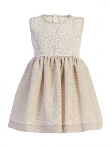 Lito Little Girls Khaki Lace Bodice Sleeveless Easter Dress 2T-7