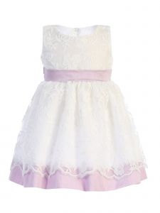 Lito Baby Girls Lilac Embroidered Sash Bow Easter Dress 6-24 Months