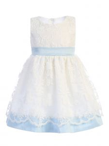 Lito Baby Girls Light Blue Embroidered Sash Bow Easter Dress 6-24 Months