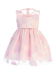 Lito Baby Girls Light Pink Polka Dots Bow Sash Sleeveles Easter Dress 12-24M