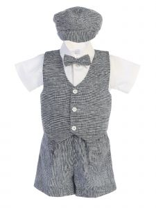 Lito Little Boys Navy Vest Shorts Hat Easter Outfit Set 2T-4T