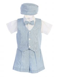 Lito Baby Boys Light Blue Vest Shorts Hat Easter Outfit Set 3-24 Months
