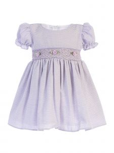 Lito Baby Girls Lilac Stripes Smocked Waist Easter Dress 3-24 Months
