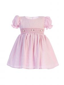Lito Baby Girls Pink Stripes Smocked Waist Easter Dress 3-24 Months