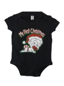 Children Park Avenue Baby Unisex Black My First Christmas Bodysuit 3-24M